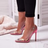 EGO Seamless Perspex Heel In Neon Pink Patent ~ transparent slingbacks