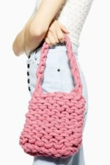 Topshop Seattle Rope Tote Bag in Pink
