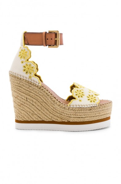 See By Chloe X REVOLVE Glyn Wedge Sandal in Gesso & Yellow | embroidered floral wedges