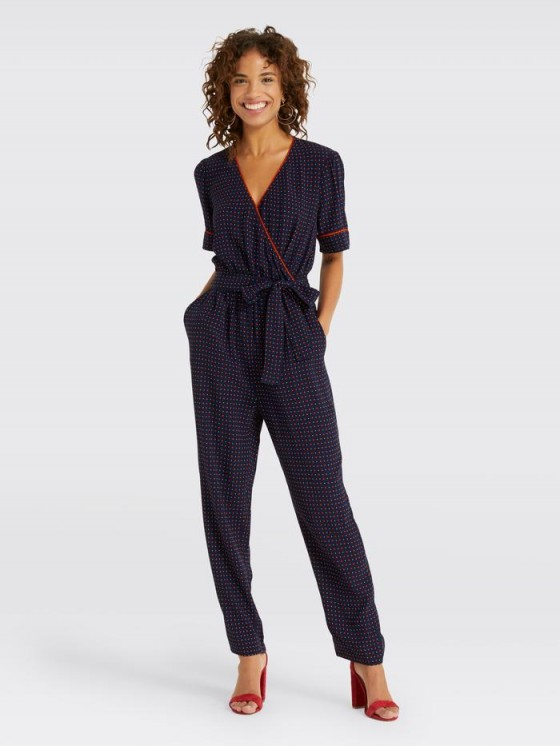 Draper James Self Tie Romper in Navy and red foulard | blue printed wrap style jumpsuits | Reese Witherspoon clothing