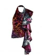 HALPERN Multicoloured sequin ruffle-trimmed halterneck top ~ evening glamour