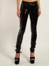SAINT LAURENT Sequinned slim-fit cotton-blend trousers in black / shiny skinnies