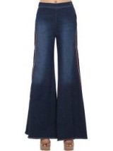 SHAFT JEANS MILLY EMBROIDERED STRETCH DENIM JEANS in BLUE -retro flares