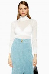 Topshop Sheer Knitted Roll Neck Jumper in White