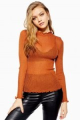 Sheer Lettuce Edge Knitted Top in Tobacco | brown frill neck knit