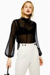 Topshop Sheer Spot Pussybow Blouse in Black | see-through high neck tops