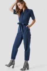 NA-KD Short Sleeve Button Up Jumpsuit Blue | cotton tie waist jumpsuits