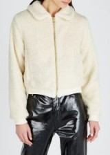 SHRIMPS Hunter cream faux shearling jacket – neutral luxe jackets