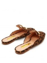 RUPERT SANDERSON Silverling backless leopard-print loafers in brown / glamorous slip-ons