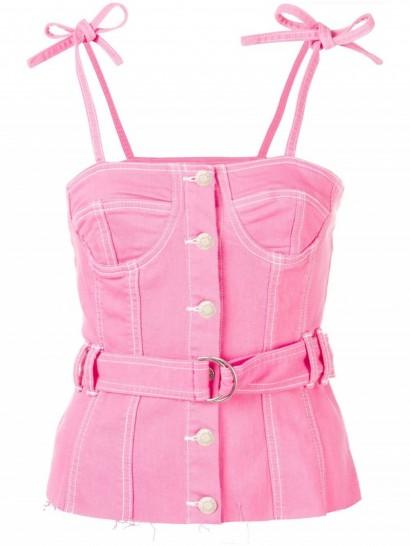 SJYP bustier belted top | pink denim