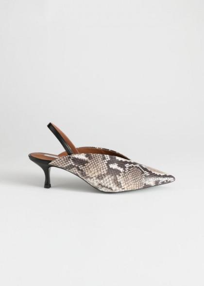 STORIES Slingback Snake Kitten Heels. REPTILE SLINGBACKS