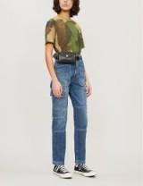 SLVRLAKE Savior slim-fit mid-rise cargo jeans in echo lake | paneled denim