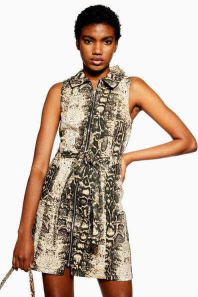 Topshop Snake Denim Dress with Collar | reptile print fashion