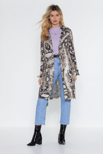 NASTY GAL Snake It Work Belted Jacket in stone ~ animal print coats