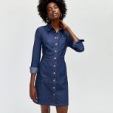 WAREHOUSE SNAP FRONT POCKET DRESS in dark wash denim / blue shirt dresses