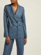 GABRIELA HEARST Sophie blue checked double-breasted wool-blend blazer