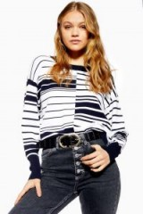 Topshop Spliced Ottoman Jumper in Navy | blue and white striped crew neck