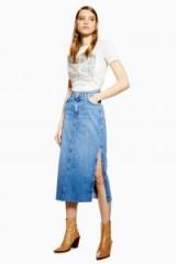 Topshop Split Denim Midi Skirt in Mid Stone | side slit skirts
