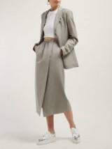 EDWARD CRUTCHLEY Split-front wool midi skirt ~ chic grey skirts