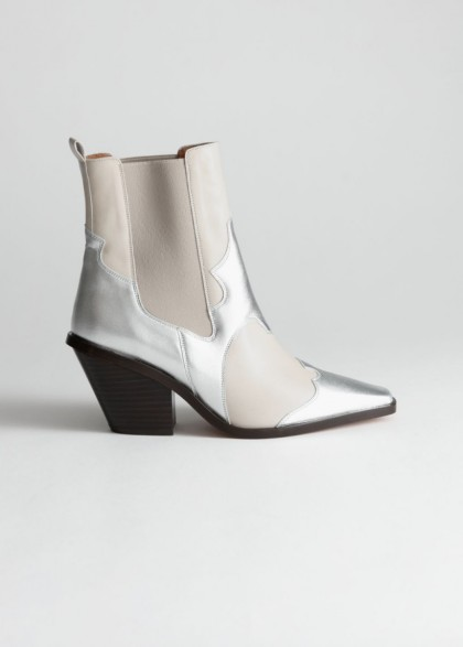 & other stories Square Toe Leather Cowboy Boots in White / Silver ~ metallic western boot