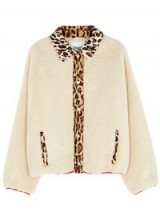 STAND Caren faux shearling jacket in cream – animal print trim