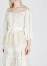STELLA MCCARTNEY Ivory broderie anglaise bardot silk top ~ luxe boho clothing