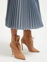 JIMMY CHOO Stitch 100 drawstring tan leather ankle boots ~ gathered booties