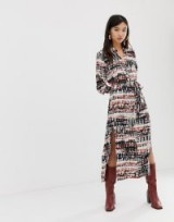 Stradivarius maxi shirt dress in tie dye / printed dresses