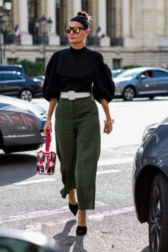 Chic street style…black balloon sleeve blouse and khaki cropped trousers