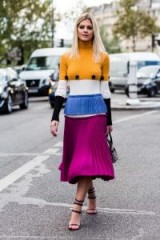 Street style…colour block knitted dress with strappy heels
