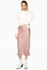 Topshop Stripe Satin Bias Midi Skirt in Taupe   slinky skirts