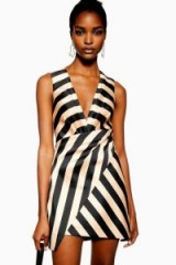 Topshop Stripe Wrap Structured Dress in Taupe | asymmetric front party mini