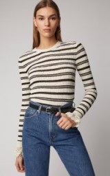 Philosophy Di Lorenzo Serafini Striped Cotton-Blend Scalloped Cuff Sweater in White | feminine knits