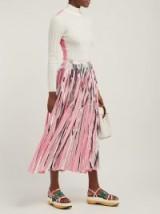 MARNI Silver and pink striped pleated midi-skirt ~ metallic skirts