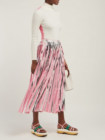 80633c0237 MARNI Silver and pink striped pleated midi-skirt ~ metallic skirts ...