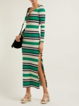 MIU MIU Green striped ribbed-jersey dress ~ effortless style clothing