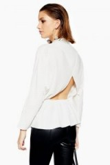 Topshop Stud Drape Blouse in Ivory | open back blouses