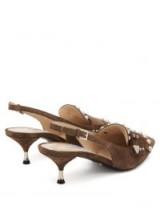 PRADA Studded fringe brown suede slingback pumps ~ kitten heel slingbacks