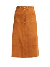 MIU MIU Studded tan-brown suede skirt ~ 70s style A-line skirts