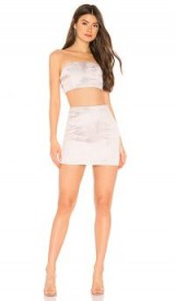 superdown Amy Strapless Brocade Set in Rose Gold | metallic party set | mini skirt and bandeau top