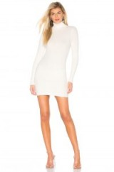 SUPER DOWN Meagan Turtle Neck Dress in ivory | rib-knit dresses