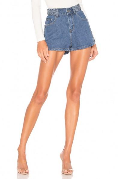 superdown x REVOLVE Angeline Braided Denim Shorts in Mid Wash Blue