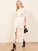 Reformation Surrey Dress in Ivory | spring/summer lace panel midi