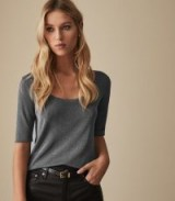 REISS TABBY METALLIC KNITTED TOP BLUE ~ every day luxe tee