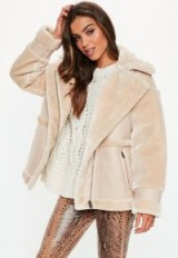 MISSGUIDED tall sand faux fur aviator coat ~ luxe style winter jacket