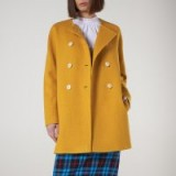 L.K. BENNETT TAMMIE YELLOW COAT in golden spice / smart and stylish collarless coats