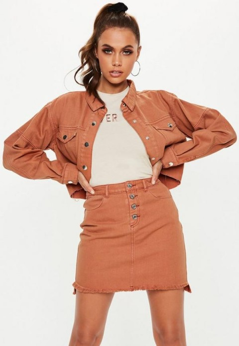 Missguided tan exposed button step hem denim micro mini skirt | light-brown frayed skirts