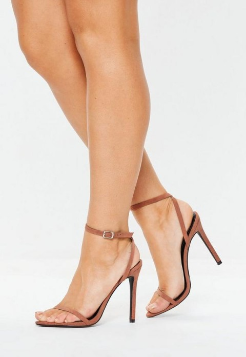 MISSGUIDED tan pointed barely there heels ~ light-brown ankle strap sandals