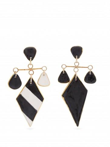 SONIA BOYAJIAN Tanning striped ceramic earrings in black ~ large monochrome drop earrings