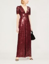 TEMPERLEY LONDON Heart Charm sequinned jumpsuit in red. LUXE OCCASION FASHION